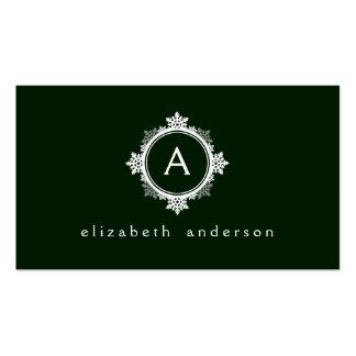 Snowflake Wreath Monogram in Dark Green White Business Cards