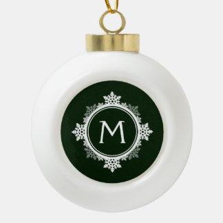 Snowflake Wreath Monogram in Dark Green & White Ornaments