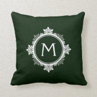 Snowflake Wreath Monogram in Dark Green & White Throw Pillow