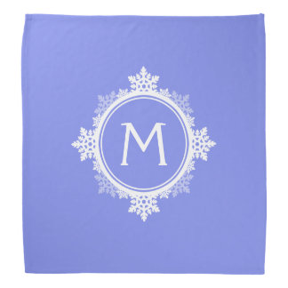 Snowflake Wreath Monogram in Dark Purple & White Bandana