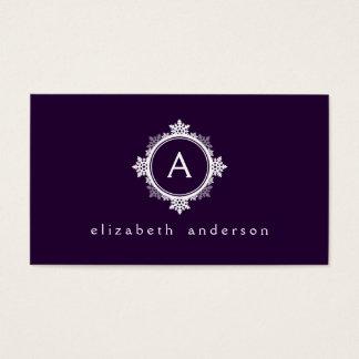 Snowflake Wreath Monogram in Dark Purple & White Business Card