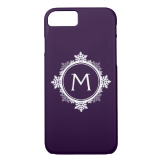 Snowflake Wreath Monogram in Dark Purple & White iPhone 8/7 Case
