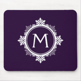 Snowflake Wreath Monogram in Dark Purple & White Mouse Pad