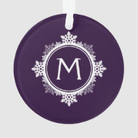 Snowflake Wreath Monogram in Dark Purple & White Ornament