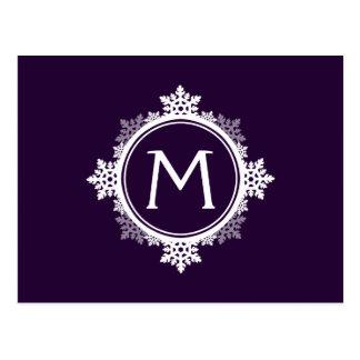 Snowflake Wreath Monogram in Dark Purple & White Postcard