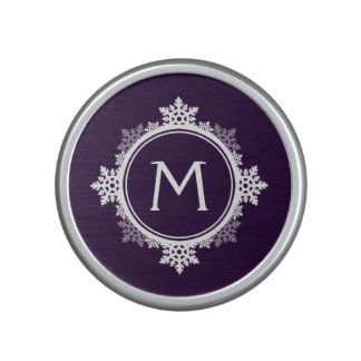 Snowflake Wreath Monogram in Dark Purple & White Speaker