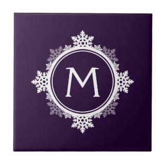 Snowflake Wreath Monogram in Dark Purple & White Tile