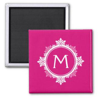 Snowflake Wreath Monogram in Fuchsia Pink & White 2 Inch Square Magnet