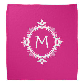 Snowflake Wreath Monogram in Fuchsia Pink & White Bandana