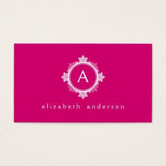 Snowflake Wreath Monogram in Fuchsia Pink & White Business Card