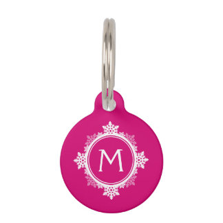 Snowflake Wreath Monogram in Fuchsia Pink & White Pet Name Tag