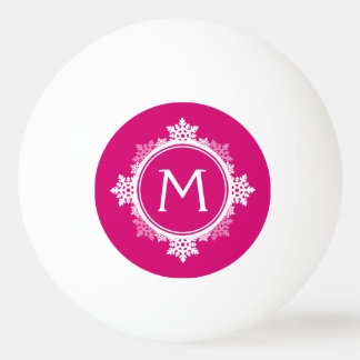 Snowflake Wreath Monogram in Fuchsia Pink & White Ping-Pong Ball