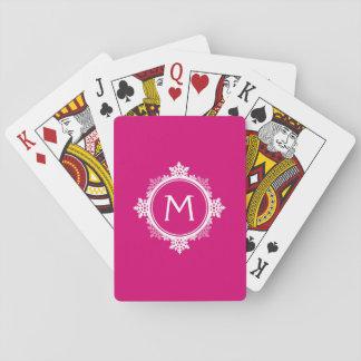 Snowflake Wreath Monogram in Fuchsia Pink & White Playing Cards