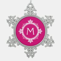 Snowflake Wreath Monogram in Fuchsia Pink & White Snowflake Pewter Christmas Ornament