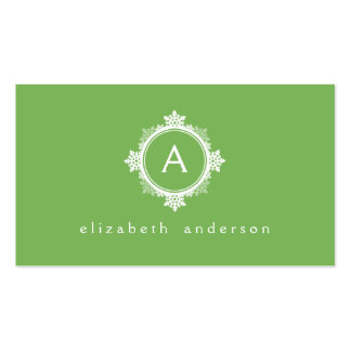 Snowflake Wreath Monogram in Lime Green & White Business Card