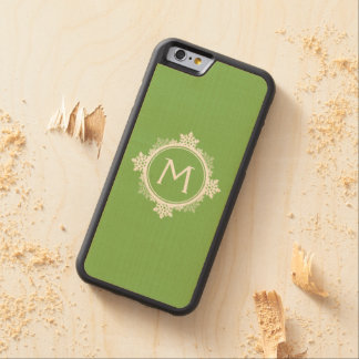 Snowflake Wreath Monogram in Lime Green & White Carved Maple iPhone 6 Bumper Case