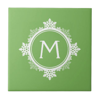 Snowflake Wreath Monogram in Lime Green & White Ceramic Tile