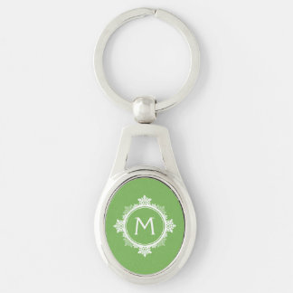 Snowflake Wreath Monogram in Lime Green & White Keychain