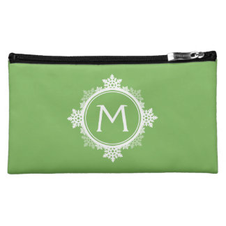 Snowflake Wreath Monogram in Lime Green & White Makeup Bag
