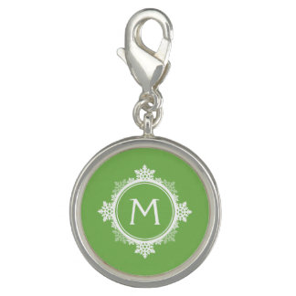Snowflake Wreath Monogram in Lime Green White Charm Bracelet