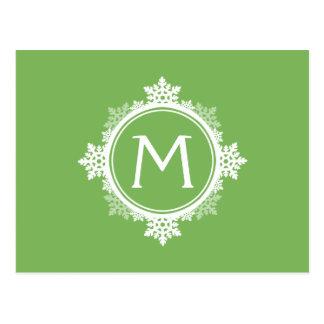 Snowflake Wreath Monogram in Lime Green & White Postcard