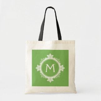 Snowflake Wreath Monogram in Lime Green & White Tote Bag