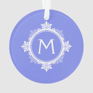 Snowflake Wreath Monogram in Purple Blue & White