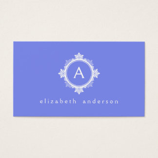 Snowflake Wreath Monogram in Purple Blue & White Business Card
