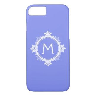 Snowflake Wreath Monogram in Purple Blue & White iPhone 8/7 Case