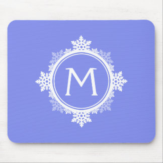 Snowflake Wreath Monogram in Purple Blue & White Mouse Pad