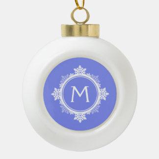 Snowflake Wreath Monogram in Purple Blue & White Ornaments