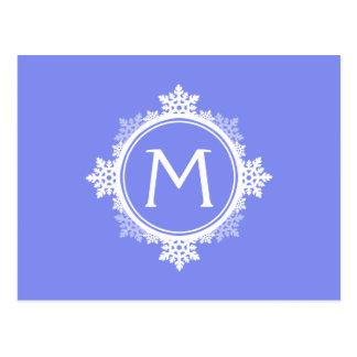 Snowflake Wreath Monogram in Purple Blue & White Postcard