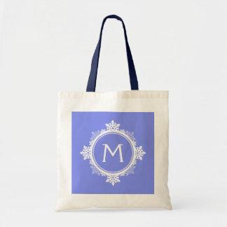 Snowflake Wreath Monogram in Purple Blue & White Tote Bag
