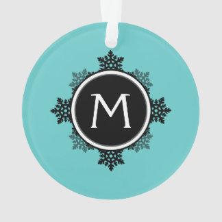 Snowflake Wreath Monogram in Teal, Black, White