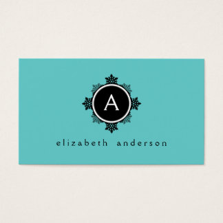 Snowflake Wreath Monogram in Teal, Black, White Business Card