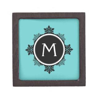 Snowflake Wreath Monogram in Teal, Black, White Gift Box
