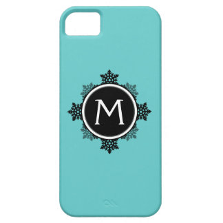 Snowflake Wreath Monogram in Teal, Black, White iPhone SE/5/5s Case