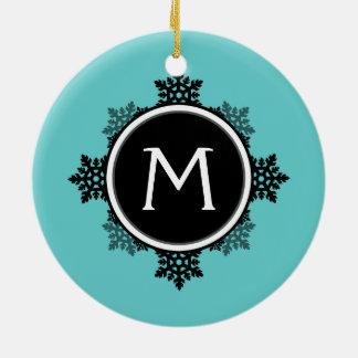 Snowflake Wreath Monogram in Teal, Black, White Christmas Tree Ornament