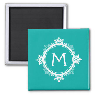 Snowflake Wreath Monogram in Teal Blue & White 2 Inch Square Magnet