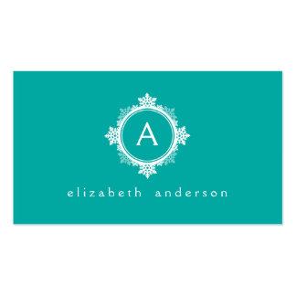Snowflake Wreath Monogram in Teal Blue & White Business Card