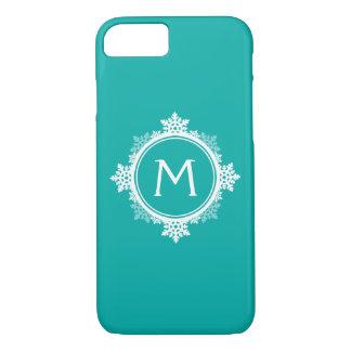 Snowflake Wreath Monogram in Teal Blue & White iPhone 8/7 Case