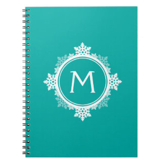 Snowflake Wreath Monogram in Teal Blue & White Notebook