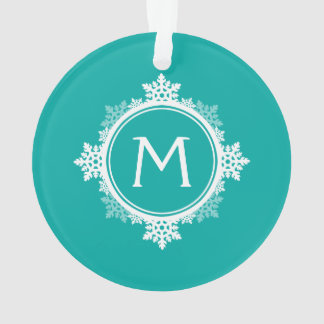 Snowflake Wreath Monogram in Teal Blue & White Ornament