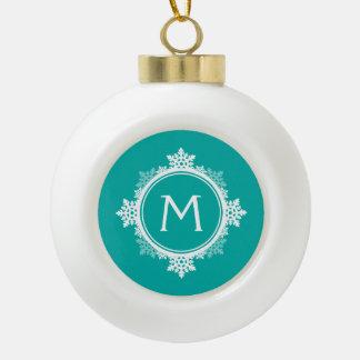 Snowflake Wreath Monogram in Teal Blue & White Ornaments