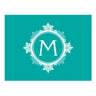 Snowflake Wreath Monogram in Teal Blue & White Postcard