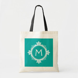 Snowflake Wreath Monogram in Teal Blue & White Tote Bag