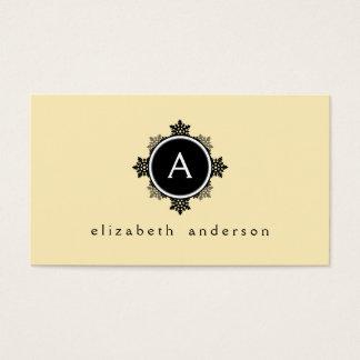 Snowflake Wreath Monogram in Yellow, Black, White Business Card