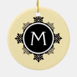 Snowflake Wreath Monogram in Yellow, Black, White Ornaments