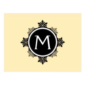 Snowflake Wreath Monogram in Yellow, Black, White Postcard