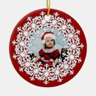 Snowflake Wreath Photo Round Ornament